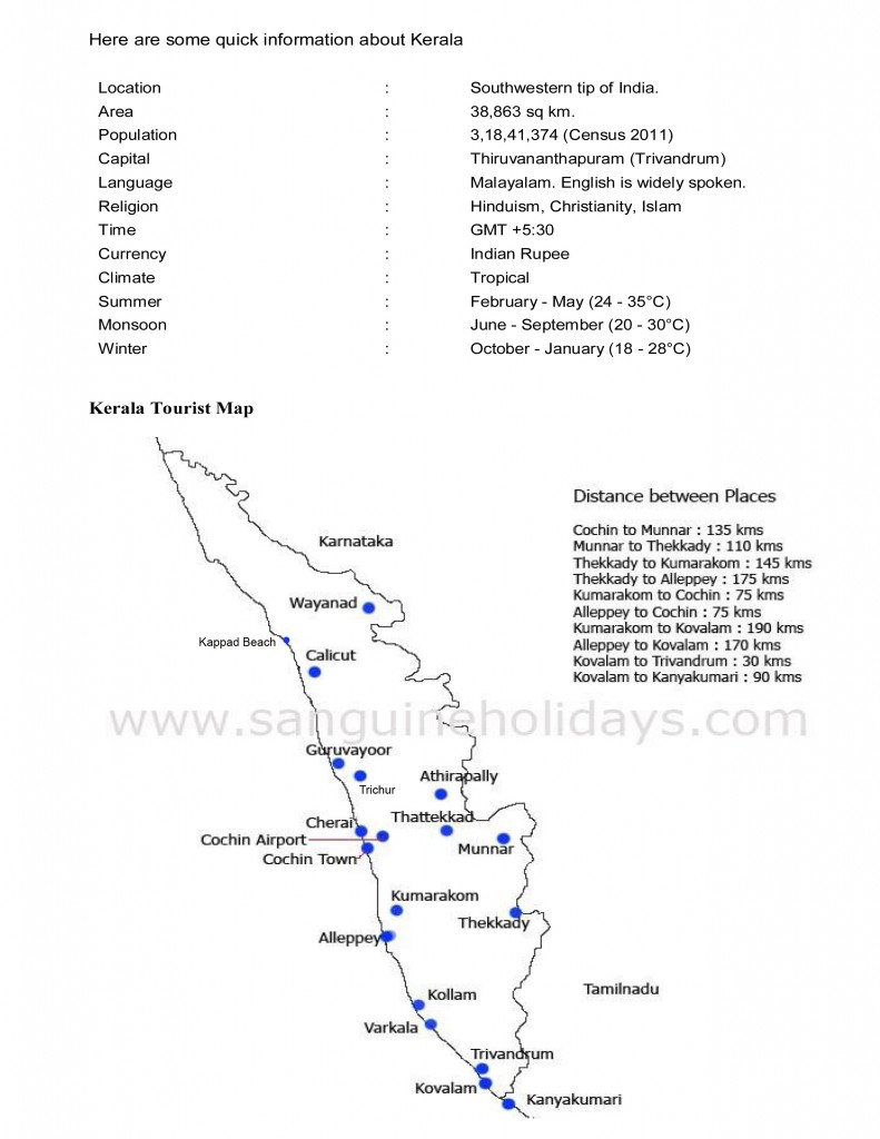 kerala tourist map